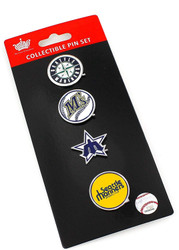 Seattle Mariners Logo MLB Baseball Evolution 4 Piece Lapel Pin Set