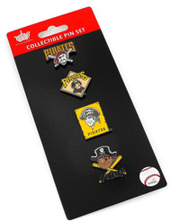 Pittsburgh Pirates Logo MLB Baseball Evolution 4 Piece Lapel Pin Set