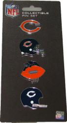 Chicago Bears Logo NFL Football Evolution 4 Piece Lapel Pin Set