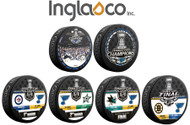 2019 St. Louis Blues NHL Stanley Cup Champions Inglasco (6) Six Souvenir Puck Set