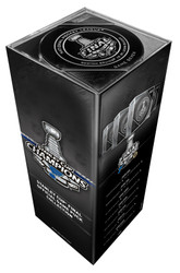 2019 Stanley Cup Finals Tower Pack of 7 Puck Set Official Game Hockey Pucks Cubed (Games 1-7) Boston Bruins vs. St. Louis Blues - In Collectors Box