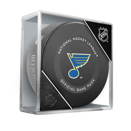Saint Louis Blues Inglasco Official NHL Game Puck in Cube 2020
