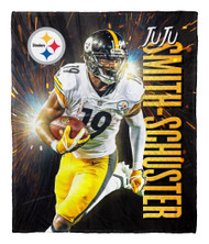 "Juju Smith-Schuster Pittsburgh Steelers NFL Silk Touch Throw Blanket Size 50"" x 60"""