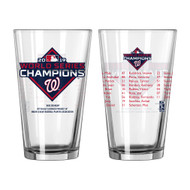 Washington Nationals 2019 World Series Champions Official 16 oz. Roster Pint Glass