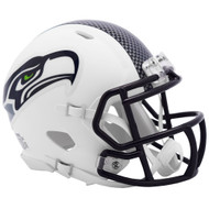 Riddell Seattle Seahawks White Flat Matte Alternate Speed Mini Football Helmet