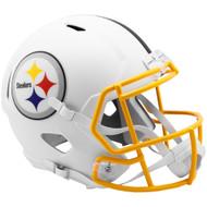 Pittsburgh Steelers Flat White Matte Alternate Speed Replica Full Size Football Helmet