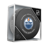 Edmonton Oilers Inglasco Official NHL Game Puck in Cube - New 2019-2020 Version