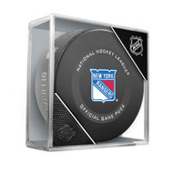 New York Rangers Inglasco Official NHL Game Puck in Cube - New 2019-2020 Version