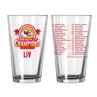 Kansas City Chiefs Super Bowl LIV 54 Champions 16 oz. Team Roster Pint Glass