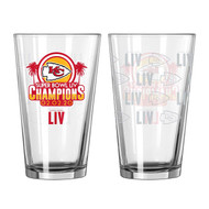 Kansas City Chiefs Super Bowl LIV 54 Champions Satin Etch 16 oz. Pint Glass