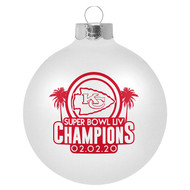 "Kansas City Chiefs Super Bowl LIV 54 Champions 3 1/4"" White Glass Ball Ornament"
