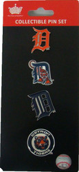 Detroit Tigers Logo MLB Baseball Evolution 4 Piece Lapel Pin Set