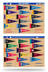 NBA Rank 'Em All 30 Teams Mini Pennant Magnet Standings Set Sheet