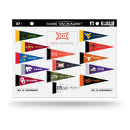 NCAA BIG 12 Rank 'Em All Big Twelve Teams Mini Pennant Magnet Standings Set Sheet