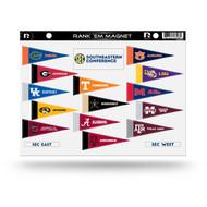 NCAA SEC Rank 'Em All South Eastern Conference Teams Mini Pennant Magnet Standings Set Sheet