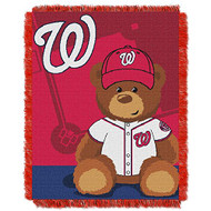 "Washington Nationals Woven Jacquard Baby Throw Blanket with Field Bear Size 36"" x 46"""