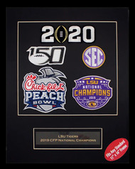 "LSU Tigers 2019 CFP National Champions Collector Patch Matted 5 Piece Set - Size 11"" x 14"""