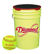 Diamond 18 Softballs Bucket Combo with 10-inch Softballs (includes 18 DRC-10 FP USA Softballs) with Yellow Bucket