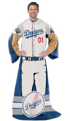 "Los Angeles Dodgers (Uniform) Full Body Player Adult Comfy Wrap Throw Blanket Snuggie 48"" x 71"""