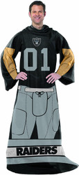 "Las Vegas Raiders (Uniform) Full Body Player Adult Comfy Wrap Throw Blanket Snuggie 48"" x 71"""