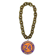 NBA in Memory of Kobe Bryant #24 Los Angeles Lakers 10 Inch Fan Gold Chain 3D Foam Magnet Necklace