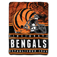 "Cincinnati Bengals NFL ""Stacked"" Silk Touch Fleece Throw Blanket 60"" x 80"""