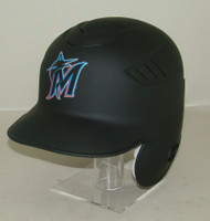 Miami Marlins Matte Black Rawlings LEC Full Size Baseball Batting Helmet FRONT