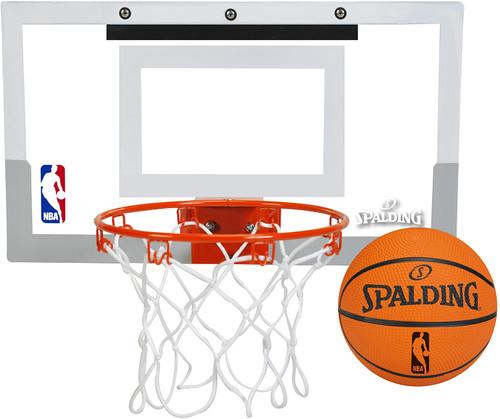 Spalding NBA Slam Jam Over-The-Door Mini Basketball Backboard Hoop Set with Ball