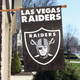 "Las Vegas Raiders Applique Banner Flag 44"" x 28"" with Las Vegas in Motion"
