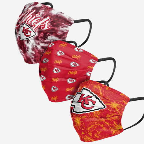 Kansas City Chiefs NFL Women's Matchday 3 PACK Face Cover Guard Mask Facemask