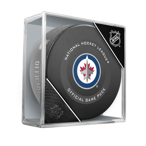 Winnipeg Jets Inglasco Official NHL Hockey Game Puck in Cube