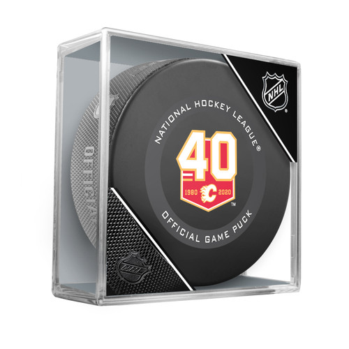 Calgary Flames 40th Anniversary 2019-20 Inglasco Official NHL Hockey Game Puck in Cube