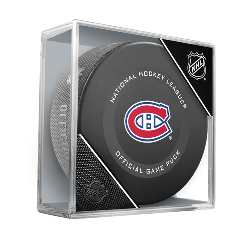 Montreal Canadiens Inglasco Official NHL Hockey Game Puck in Cube