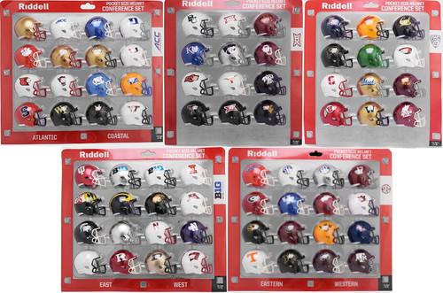 2020 Riddell NCAA Pocket Pro Helmet Sets (72 Helmets) ACC BIG 12 PAC 12 BIG TEN SEC