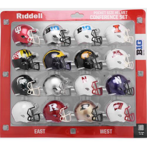 2020 NCAA Big Ten 10 Conference Pocket Pro Speed Revolution Mini Helmets Set by Riddell