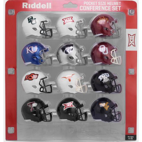 2020 NCAA Big 12 Conference Pocket Pro Speed Revolution Mini Helmets Set by Riddell