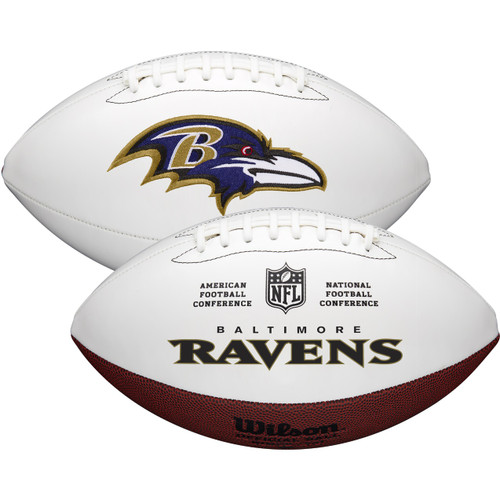 Baltimore Ravens Full Size Official NFL Autograph Signature Series White Panel Football by Wilson