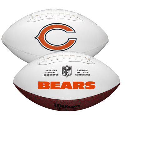 Chicago Bears Full Size Official NFL Autograph Signature Series White Panel Football by Wilson