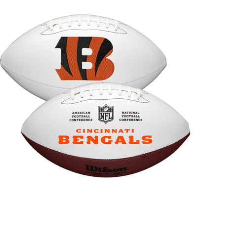 Cincinnati Bengals Full Size Official NFL Autograph Signature Series White Panel Football by Wilson