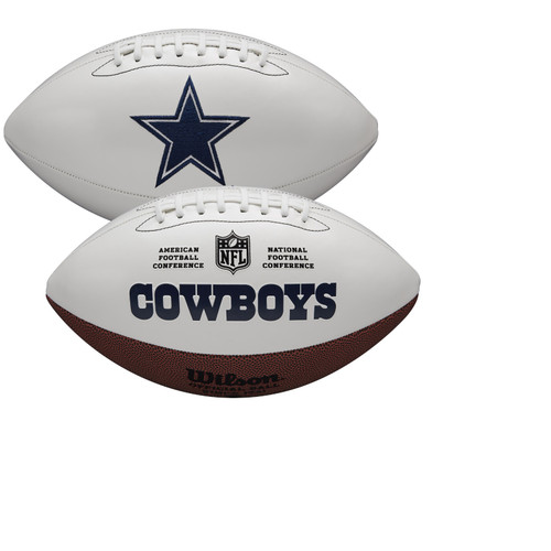 Dallas Cowboys Full Size Official NFL Autograph Signature Series White Panel Football by Wilson