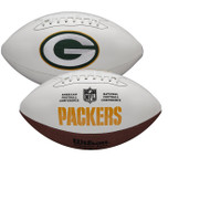 Green Bay Packers Full Size Official NFL Autograph Signature Series White Panel Football by Wilson