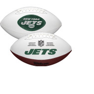 New York Jets Full Size Official NFL Autograph Signature Series White Panel Football by Wilson
