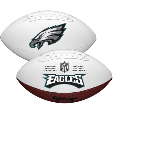 Philadelphia Eagles Full Size Official NFL Autograph Signature Series White Panel Football by Wilson