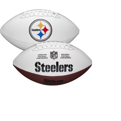 Pittsburgh Steelers Full Size Official NFL Autograph Signature Series White Panel Football by Wilson