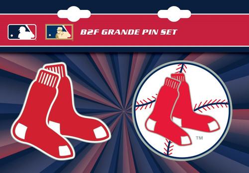"Boston Red Sox MLB Jumbo Grande 2"" Lapel Pin Set of 2 (Current and Retro Logos)"