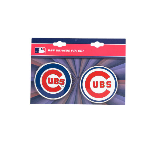 "Chicago Cubs MLB Jumbo Grande 2"" Lapel Pin Set of 2 (Current and Retro Logos)"