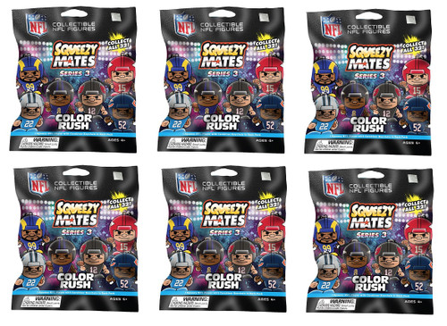 SqueezyMates NFL Gravity Feed Figurines Mystery Pack (6 packs) SERIES 3 COLOR RUSH