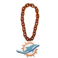 Miami Dolphins NFL Touchdown Fan Chain 10 Inch 3D Foam Magnet Necklace - Orange
