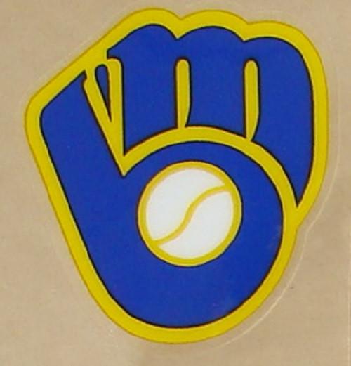 Milwaukee Brewers Throwback Mitt MLB Full Size Baseball Batting Helmet 3M Sticker Decal