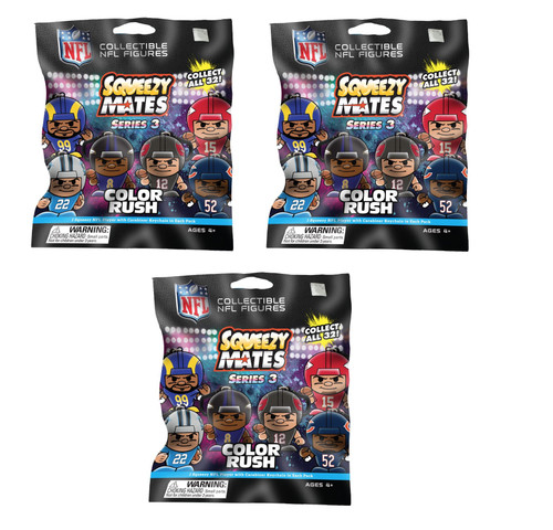 SqueezyMates NFL Gravity Feed Figurines Mystery Pack - 3 packs - SERIES 3 COLOR RUSH